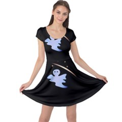 Ghost Night Night Sky Small Sweet Cap Sleeve Dresses