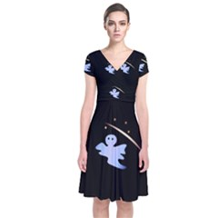 Ghost Night Night Sky Small Sweet Short Sleeve Front Wrap Dress