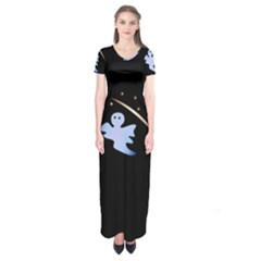 Ghost Night Night Sky Small Sweet Short Sleeve Maxi Dress
