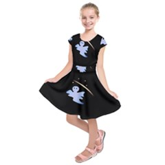 Ghost Night Night Sky Small Sweet Kids  Short Sleeve Dress