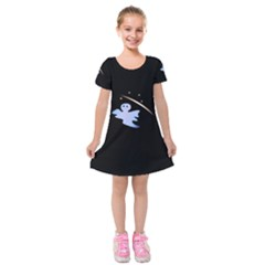 Ghost Night Night Sky Small Sweet Kids  Short Sleeve Velvet Dress