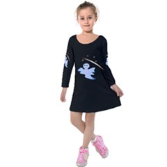 Ghost Night Night Sky Small Sweet Kids  Long Sleeve Velvet Dress