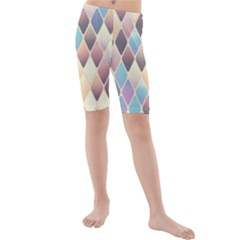 Abstract Colorful Background Tile Kids  Mid Length Swim Shorts