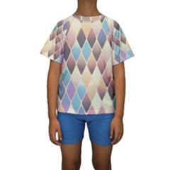 Abstract Colorful Background Tile Kids  Short Sleeve Swimwear