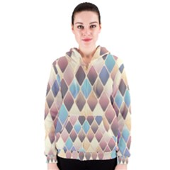 Abstract Colorful Background Tile Women s Zipper Hoodie