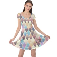Abstract Colorful Background Tile Cap Sleeve Dresses