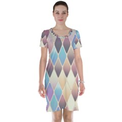 Abstract Colorful Background Tile Short Sleeve Nightdress