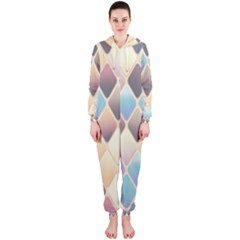Abstract Colorful Background Tile Hooded Jumpsuit (ladies)