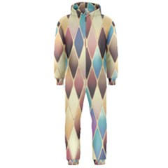 Abstract Colorful Background Tile Hooded Jumpsuit (men)