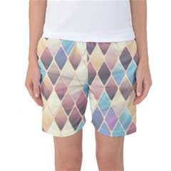 Abstract Colorful Background Tile Women s Basketball Shorts