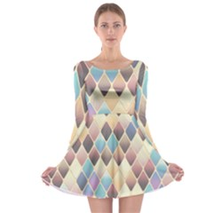 Abstract Colorful Background Tile Long Sleeve Skater Dress