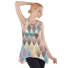 Abstract Colorful Background Tile Side Drop Tank Tunic