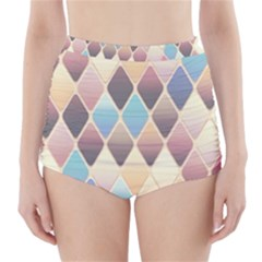 Abstract Colorful Background Tile High Waisted Bikini Bottoms