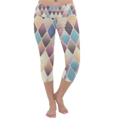 Abstract Colorful Background Tile Capri Yoga Leggings