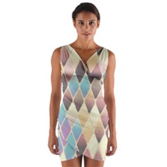 Abstract Colorful Background Tile Wrap Front Bodycon Dress