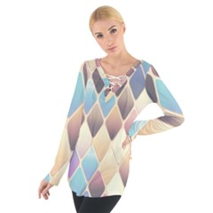 Abstract Colorful Background Tile Women s Tie Up Tee
