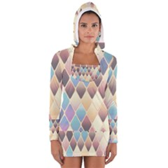 Abstract Colorful Background Tile Women s Long Sleeve Hooded T Shirt