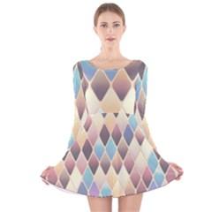 Abstract Colorful Background Tile Long Sleeve Velvet Skater Dress