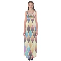 Abstract Colorful Background Tile Empire Waist Maxi Dress