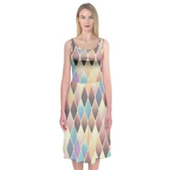 Abstract Colorful Background Tile Midi Sleeveless Dress