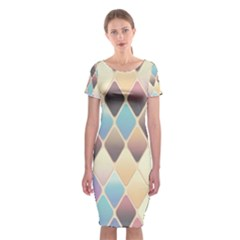 Abstract Colorful Background Tile Classic Short Sleeve Midi Dress