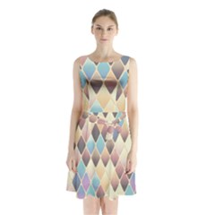 Abstract Colorful Background Tile Sleeveless Chiffon Waist Tie Dress