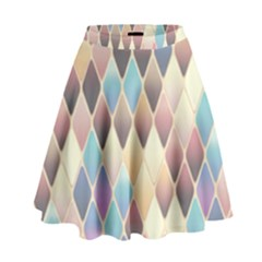 Abstract Colorful Background Tile High Waist Skirt