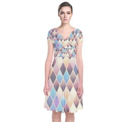 Abstract Colorful Background Tile Short Sleeve Front Wrap Dress