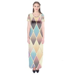 Abstract Colorful Background Tile Short Sleeve Maxi Dress