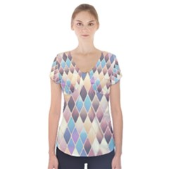 Abstract Colorful Background Tile Short Sleeve Front Detail Top