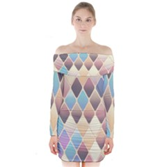Abstract Colorful Background Tile Long Sleeve Off Shoulder Dress