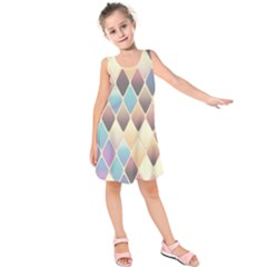 Abstract Colorful Background Tile Kids  Sleeveless Dress