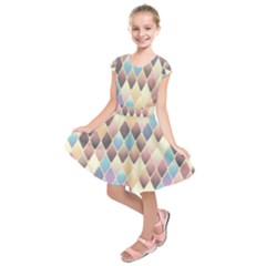 Abstract Colorful Background Tile Kids  Short Sleeve Dress