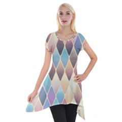 Abstract Colorful Background Tile Short Sleeve Side Drop Tunic