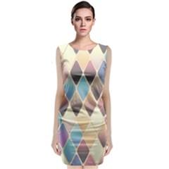 Abstract Colorful Background Tile Sleeveless Velvet Midi Dress