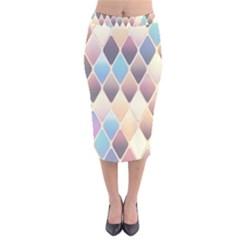 Abstract Colorful Background Tile Velvet Midi Pencil Skirt