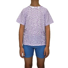 Maze Lost Confusing Puzzle Kids  Short Sleeve Swimwear