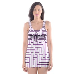 Maze Lost Confusing Puzzle Skater Dress Swimsuit