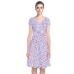 Maze Lost Confusing Puzzle Short Sleeve Front Wrap Dress
