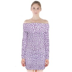 Maze Lost Confusing Puzzle Long Sleeve Off Shoulder Dress