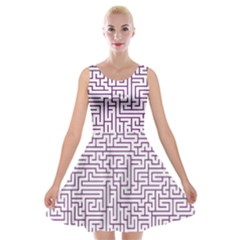 Maze Lost Confusing Puzzle Velvet Skater Dress