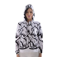 Mammoth Elephant Strong Hooded Wind Breaker (women)