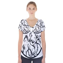 Mammoth Elephant Strong Short Sleeve Front Detail Top