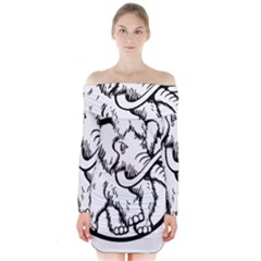 Mammoth Elephant Strong Long Sleeve Off Shoulder Dress