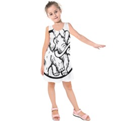 Mammoth Elephant Strong Kids  Sleeveless Dress