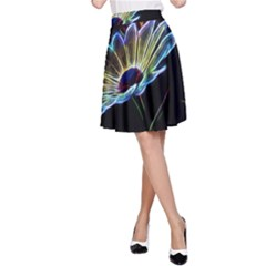 Flower Pattern Design Abstract Background A Line Skirt