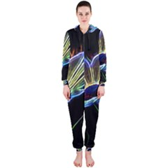 Flower Pattern Design Abstract Background Hooded Jumpsuit (ladies)