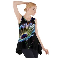 Flower Pattern Design Abstract Background Side Drop Tank Tunic