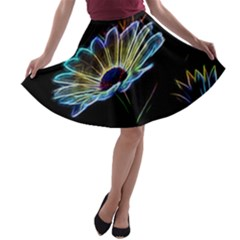 Flower Pattern Design Abstract Background A Line Skater Skirt