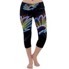 Flower Pattern Design Abstract Background Capri Yoga Leggings